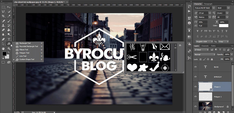 Cara membuat Hipster Logo sederhana di Photoshop - Byrocuy