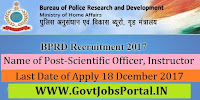 Bureau of Police Research and Development Recruitment 2017-40 Scientific Officer, Instructor