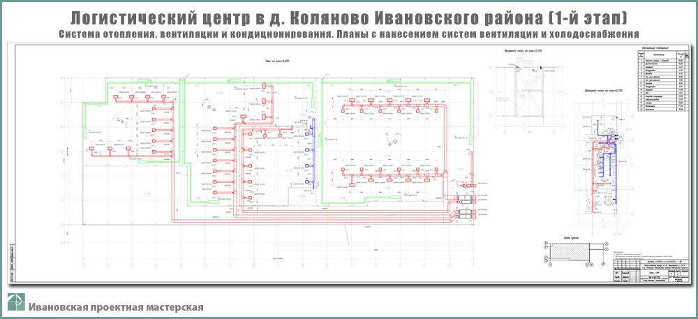 Проект логистического центра в пригороде г. Иваново - д. Коляново - Система отопления, вентиляции и кондиционирования - Планы