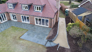 Slate patio and gravel drive