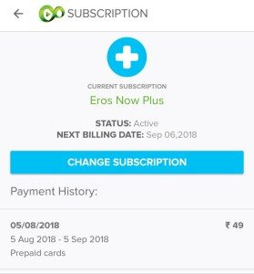 Eros now free subscription for one month.