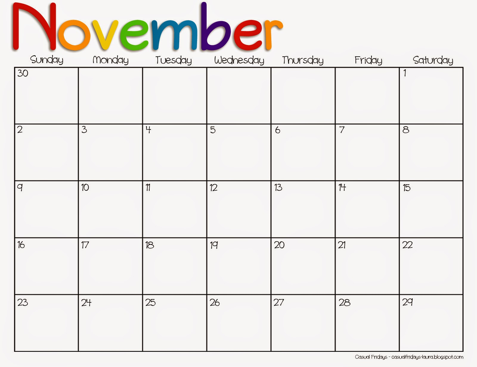 Casual Fridays Free Printable Calendar