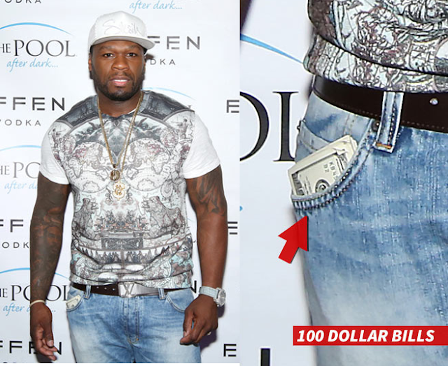 50 Cents fifty 100 dollar bills wad in his pocket