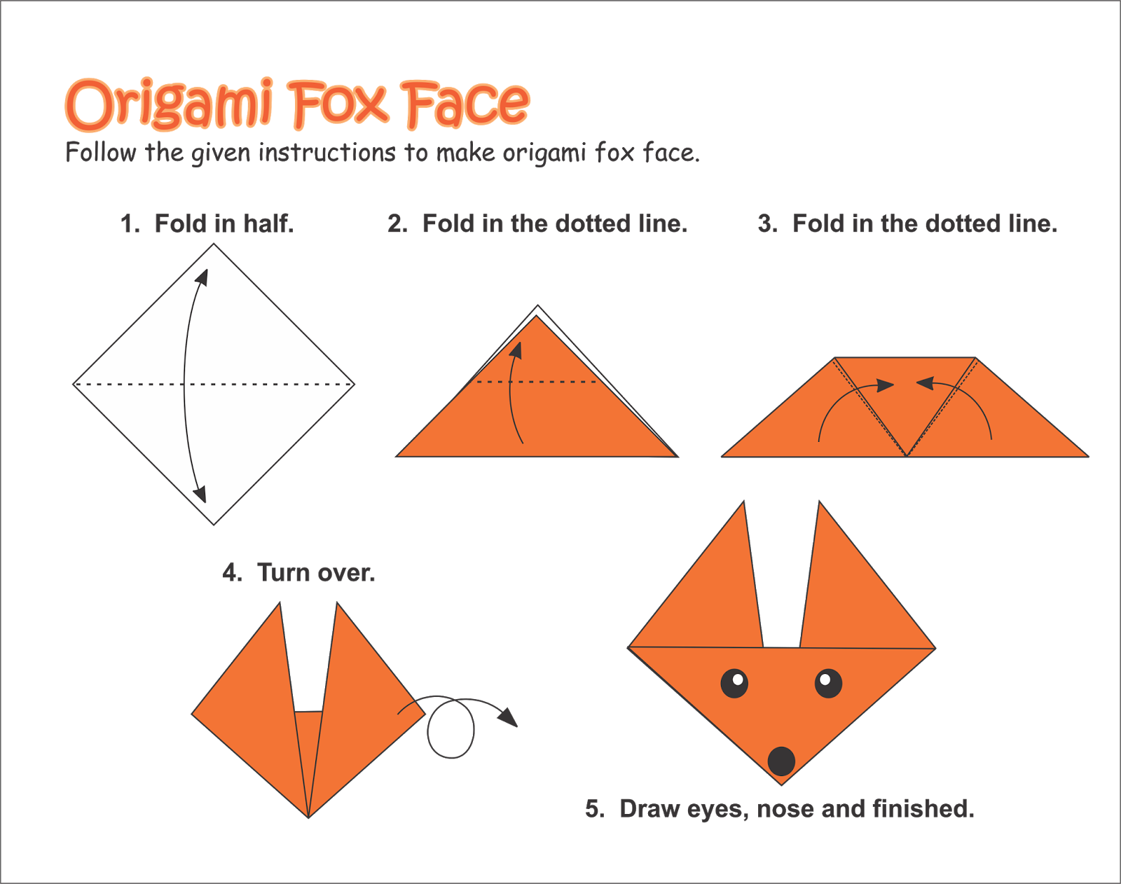 Origami Step by Step Instructions of a Fox Face | Free Printable ... | 1262x1600