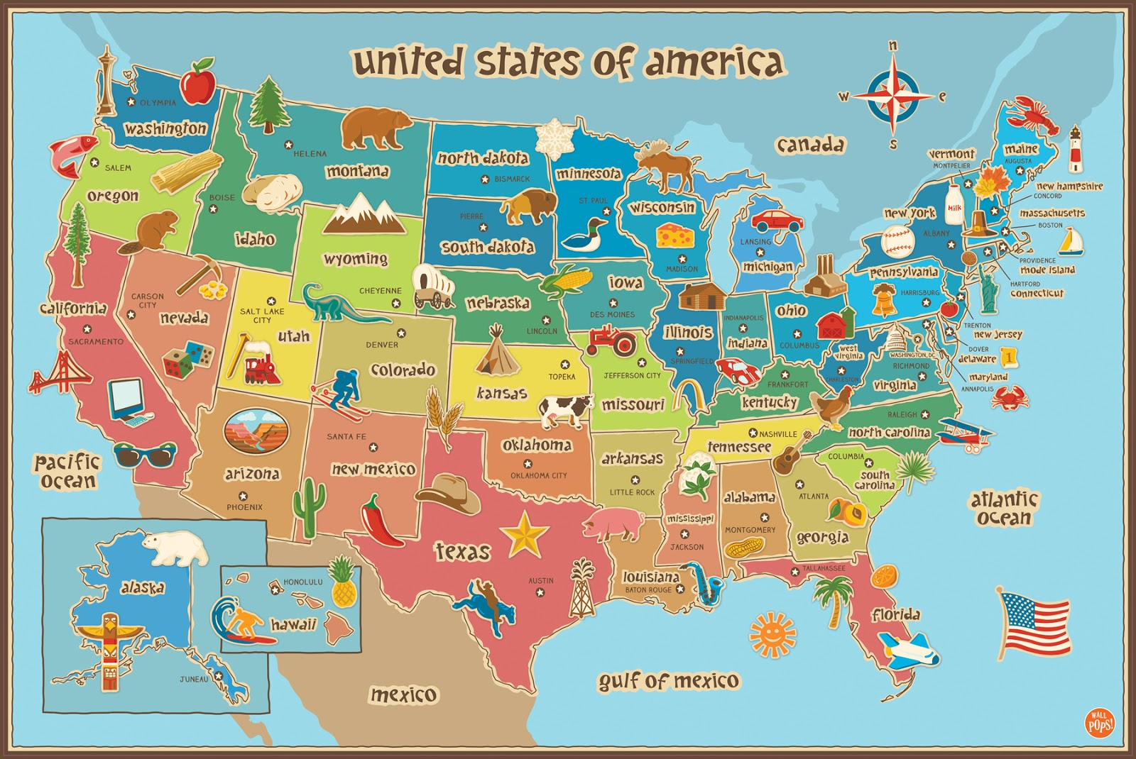Fabuloso FÓRMULA GEO: Mapa ilustrado dos Estados Unidos QF79