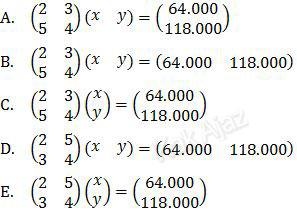 Persamaan matriks yang ditampilkan dari sistem persamaan linear, soal Matematika SMA-IPS UN 2017 no. 15
