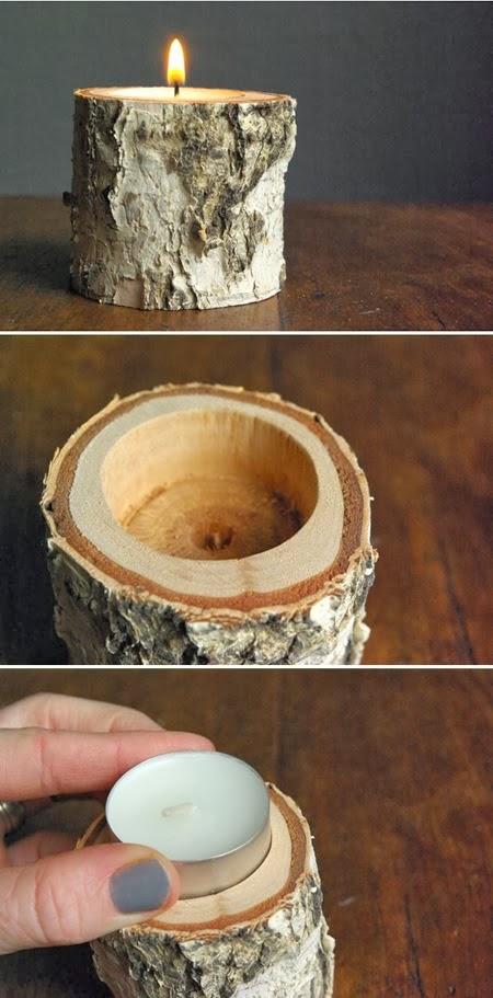 DIY vela de madera