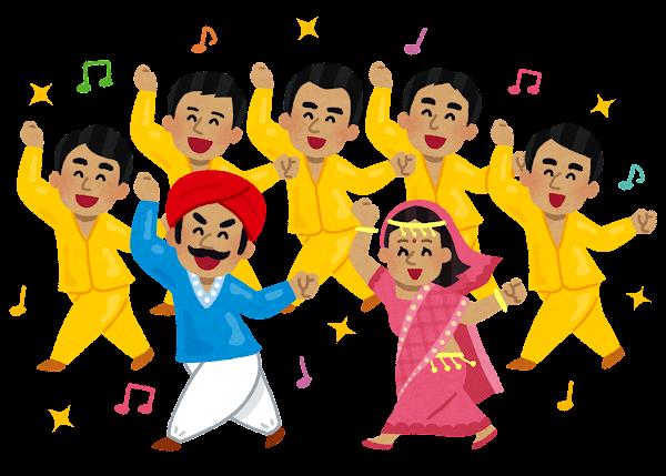 踊るインド人達のイラスト
