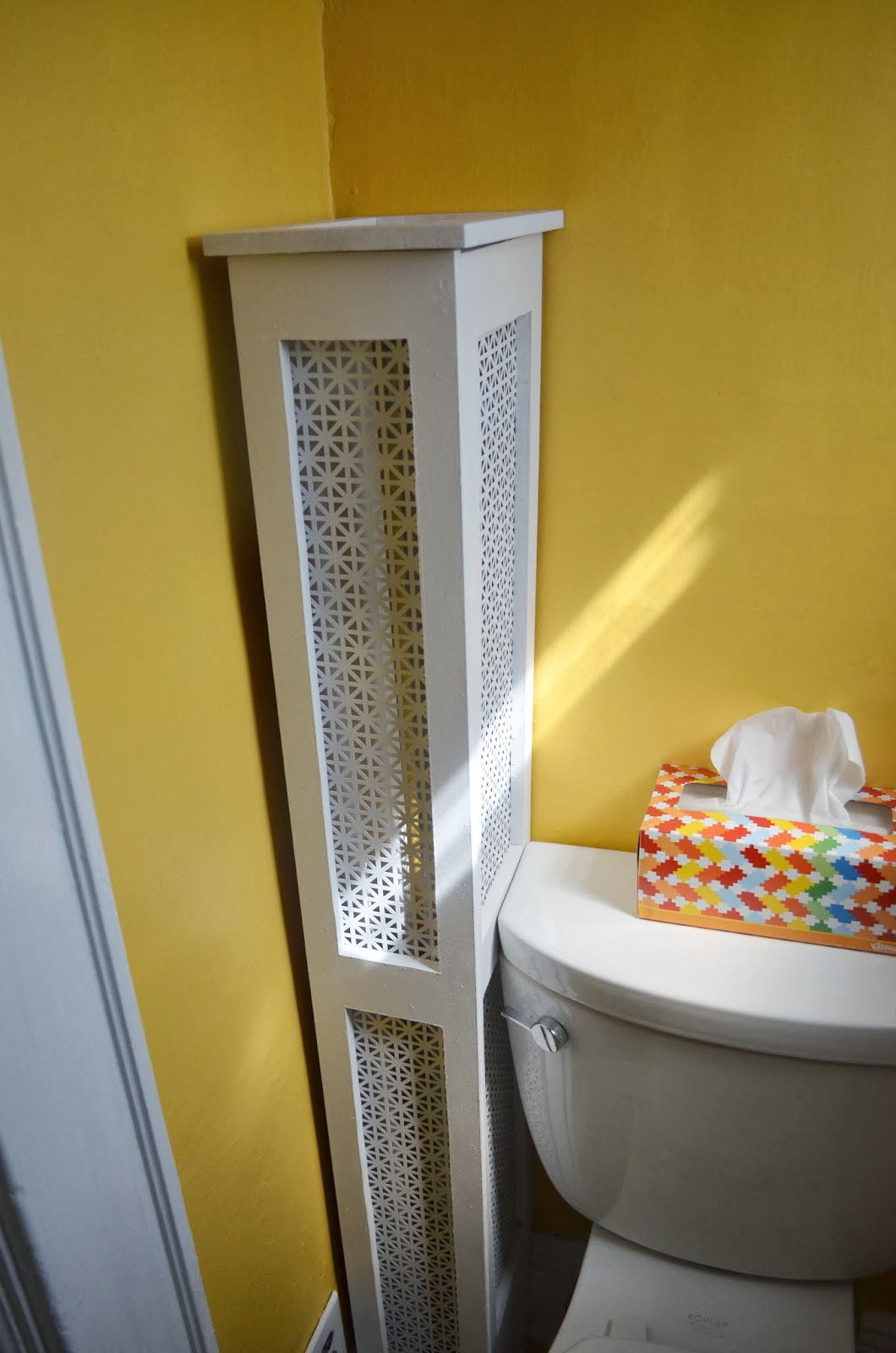 In The Little Yellow House Half Bath Radiator Cover Finished