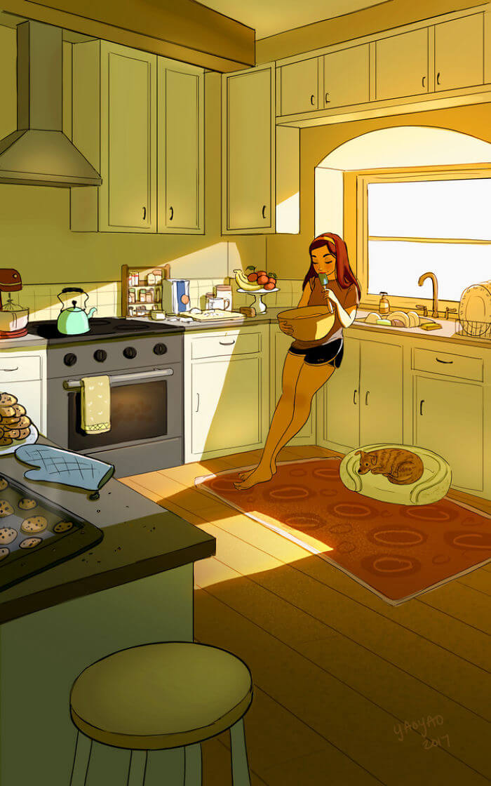 20 Beautiful Illustrations That Show What's Like To Live Alone - Treating Yourself To A Whole Batch Of Cookies