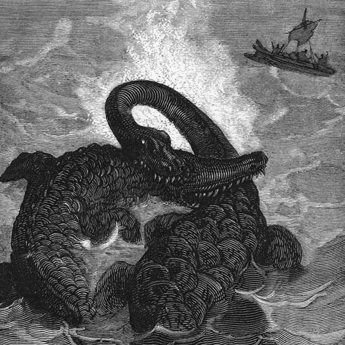 Illustration du combat plésiosaure / ichtyosaure selon Édouard Riou.