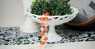 Coral and Pink Glass Bead Garland And Vintage White Bowl