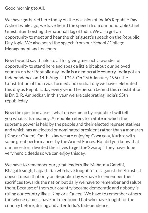 republic day speech 2018