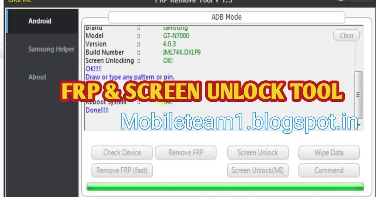 Mobileteam1: ALL ANDROID phone FRP SCREEN UNLOCK TOOL (ADB ...