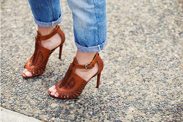 501 CT Jeans cuffed with heels