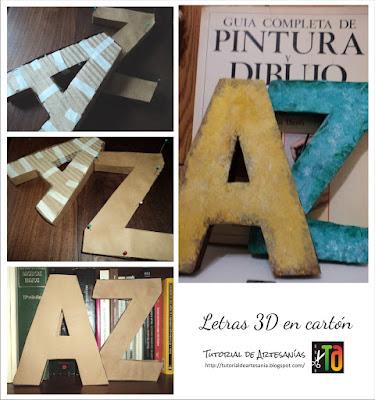 Letras 3 D en cartón pintadas con acrílicos