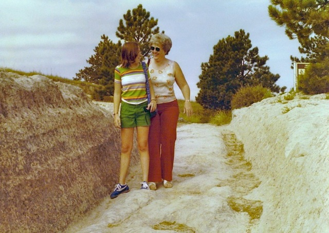 Brenda And Marilyn M My Niece Sister Standing In The Oregon Trail Ruts Near Guernsey WY Circa Mid 1970s
