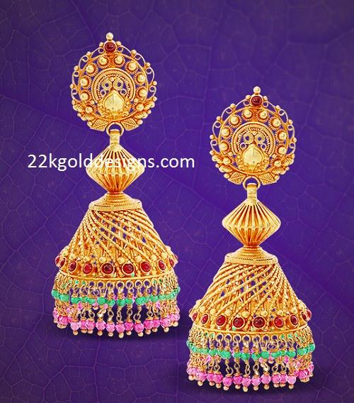 2503451eec01c GRT Gold Jhumka Earrings - 22kGoldDesigns
