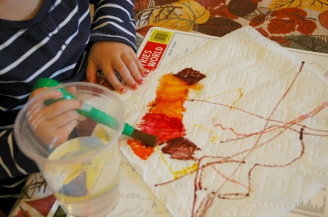 painting water on marker colored paper towels