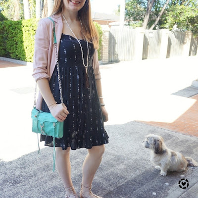 awayfromblue Instagram blush blazer with little black tiered dress for spring