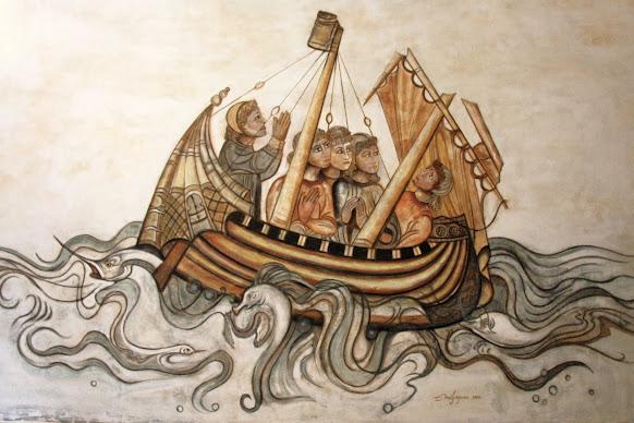 El Barco Medieval- Arte Mural. La realización del fresco pintor Emil Grigoras
