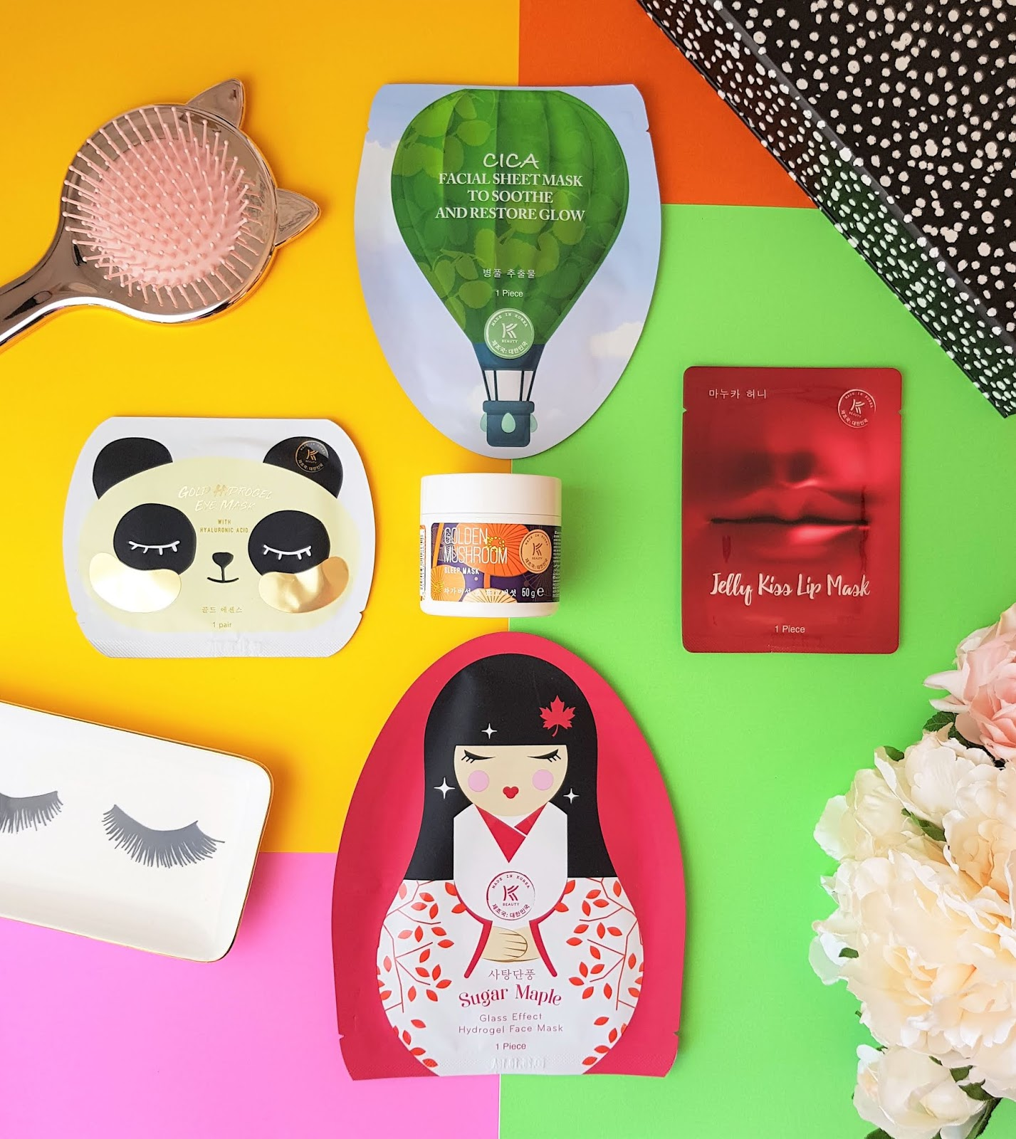 A flatlay of 5 new KBEAUTY masks by AVON