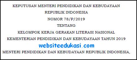 Kepmendikbud Nomor 78/P Tahun 2019 Tentang KKG Literasi Nasional 2019
