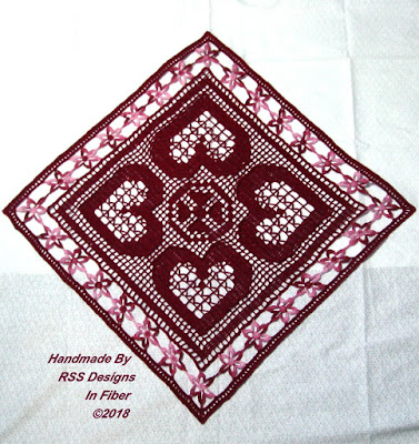 Red Hearts and Flowers Table Topper - Handmade Crochet By Ruth Sandra Sperling at RSS Designs In Fiber