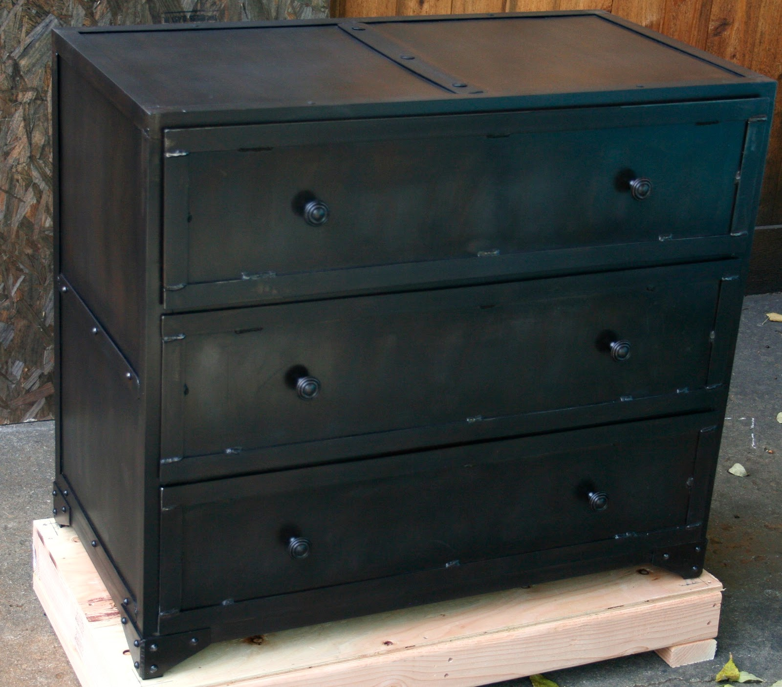 Industrial metal chest of drawers.