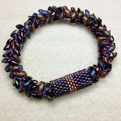 Peyote Stitch Tubular Sleeve for Kumihimo Bracelet with Long Magatamas & C-Lon Tex 400 Bead Cord