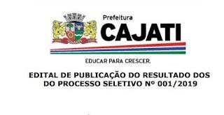 Prefeitura de Cajati divulga resultado para a contratação de professores