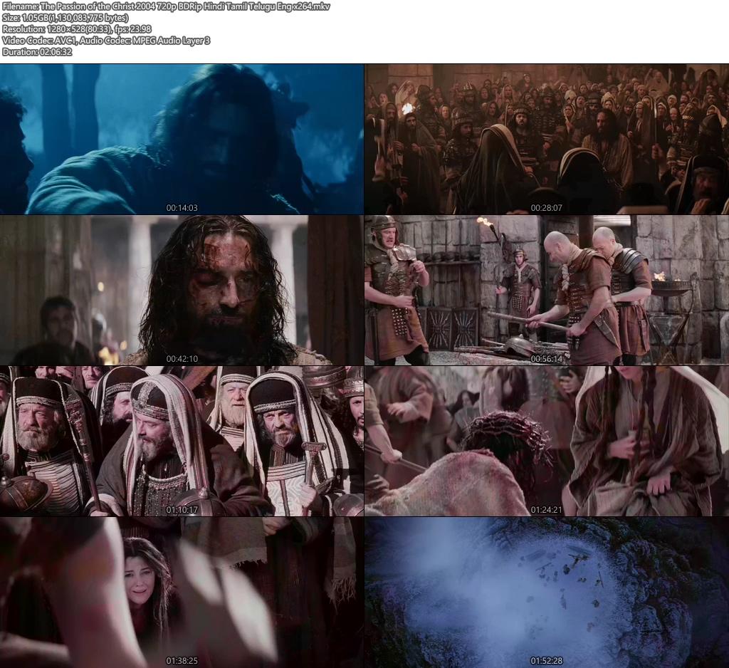 The Passion of the Christ 2004 720p BDRip Hindi Tamil Telugu Eng x264   480p 300MB   100MB HEVC Screenshot