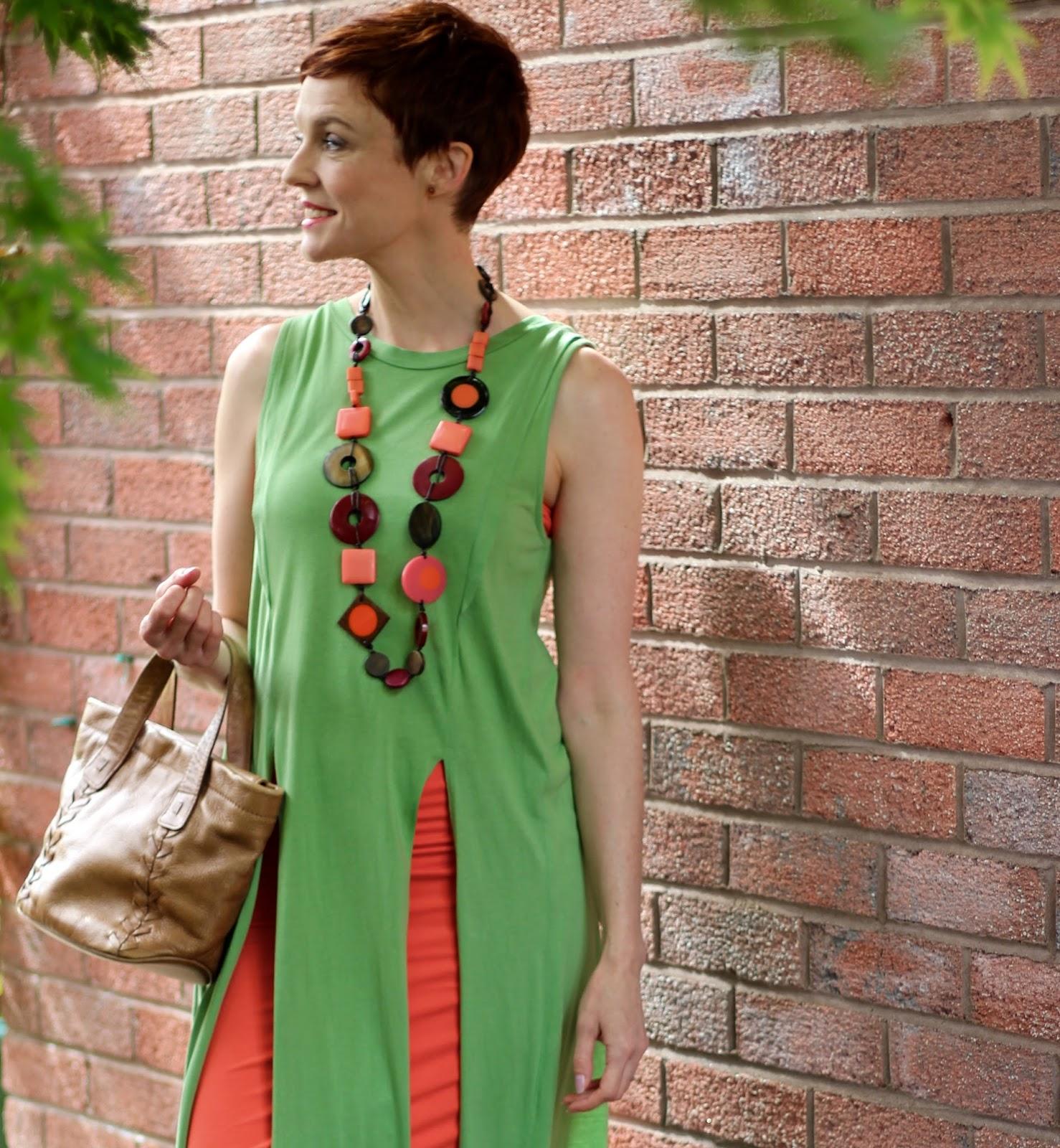 How to Tone Down a Tight Dress | Orange Dress & Green Tunic