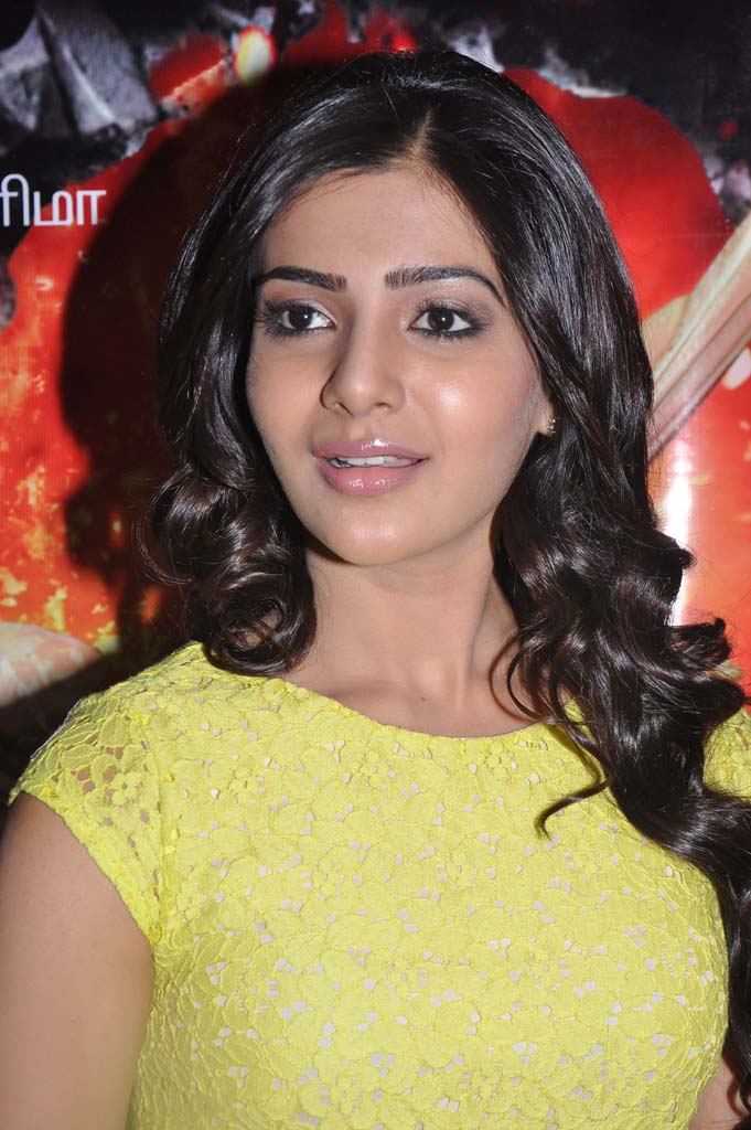Samantha Face Photos In Yellow Dress