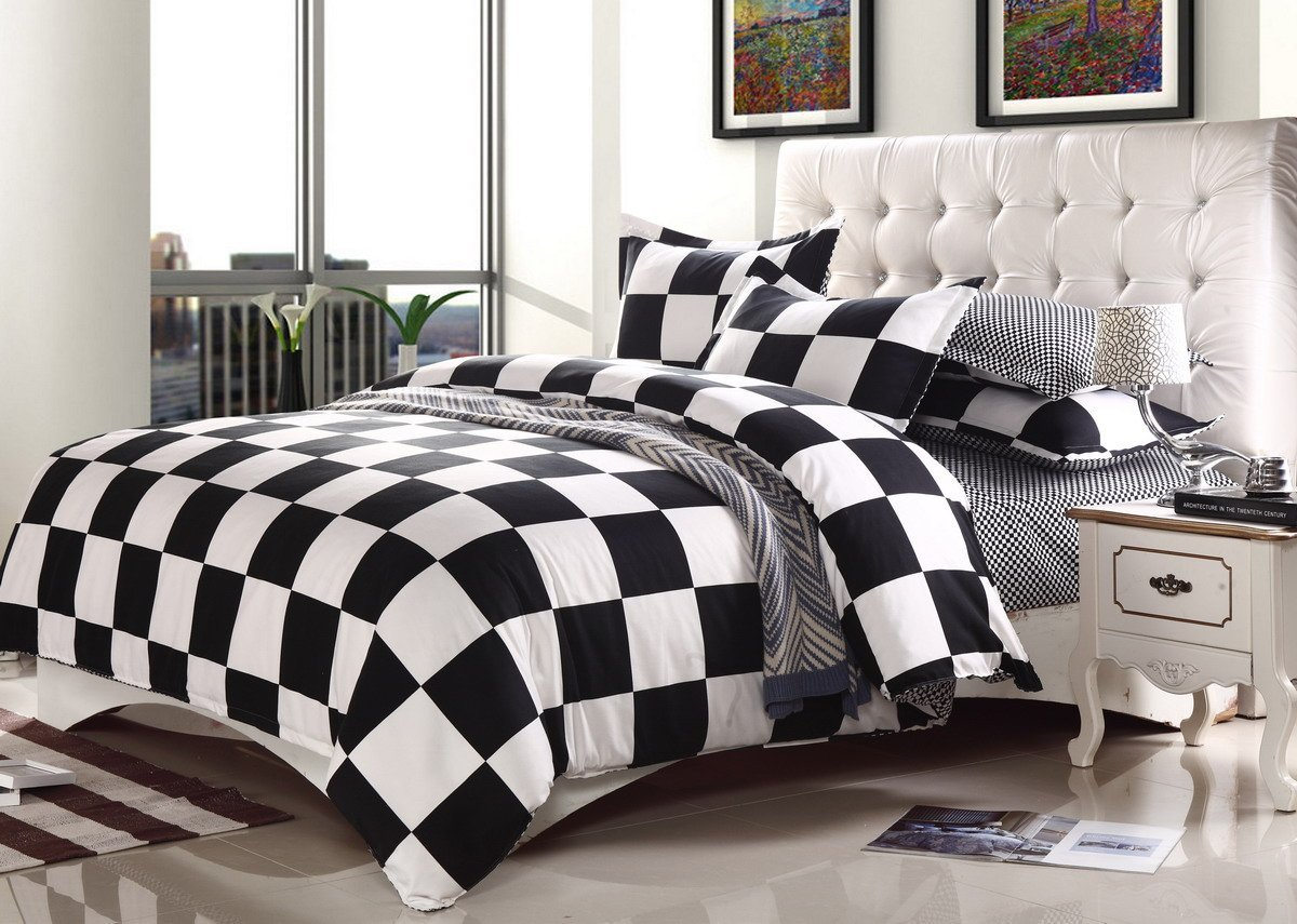 Bed sheet set black and white - Twin Queen King Black And White Checkerboard Duvet Set