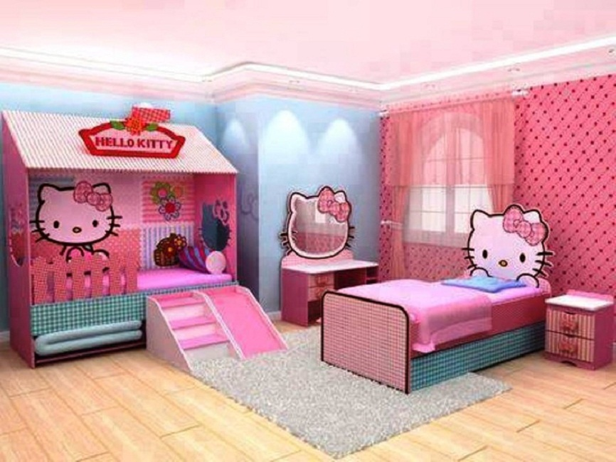 hello kitty kids bedroom design ideas