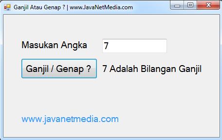 Aplikasi Menentukan Bilangan Ganjil Genap VB .NET