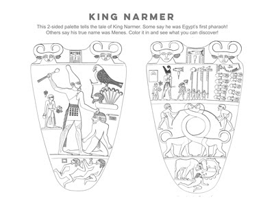 King Narmer, coloring page activity, kids ancient Egypt activity, Narmer palette, Menes, first pharaoh