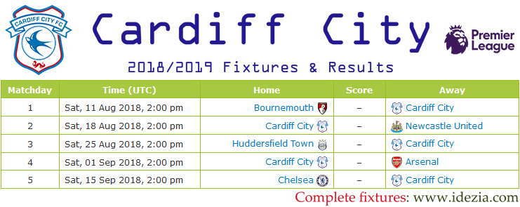 Download Full Fixtures PNG JPG Cardiff City 2018-2019