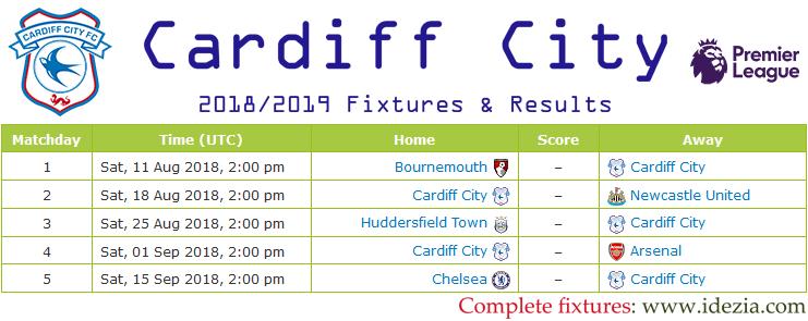 Baixar calendário completo PNG JPG Cardiff City 2018-2019