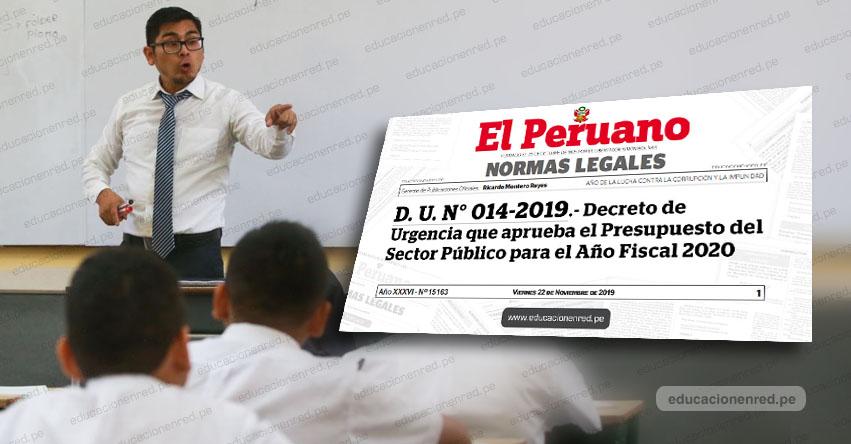 Aumento de sueldo para maestros nombrados y contratados será en marzo y noviembre del 2020, según Decreto de Urgencia N° 014-2019