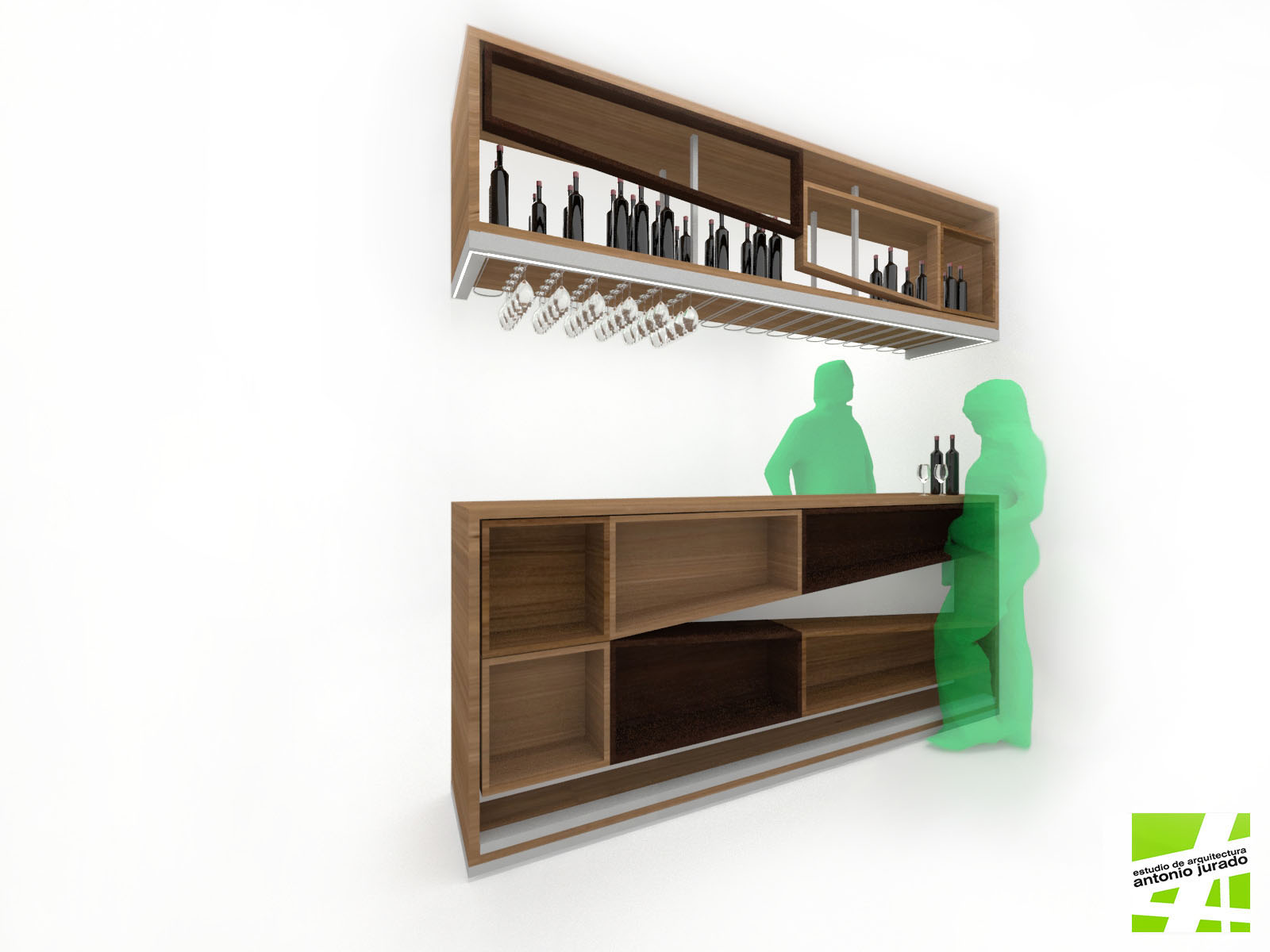 diseño de mobiliario barra bar bodega estudio de arquitectura interiorismo arquitectos antonio jurado malaga