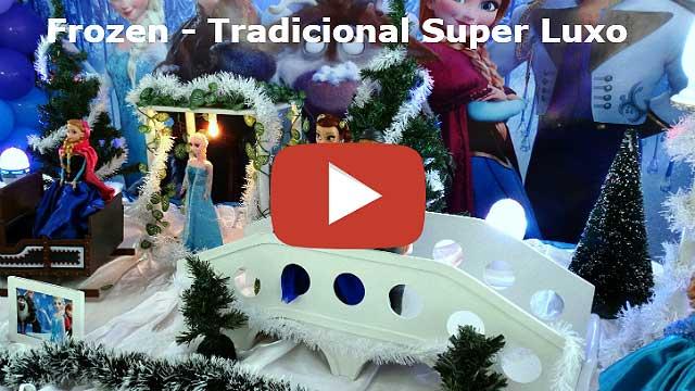 Decoração mesa tradicional de tecido super-luxo para aniversário tema Frozen