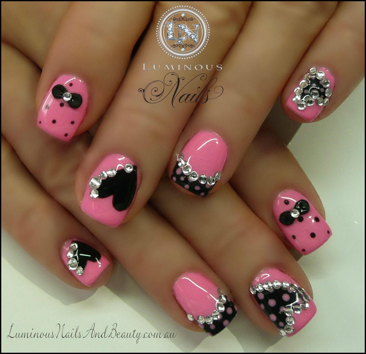 Nails gel nails sculptured gel with custom pink gel mani q black