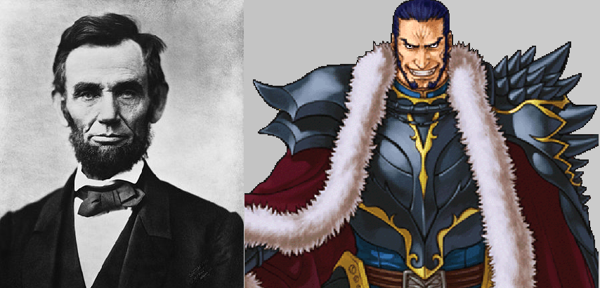 President Abraham Lincoln and Mad King Ashnard from Fire Emblem: Path of Radiance