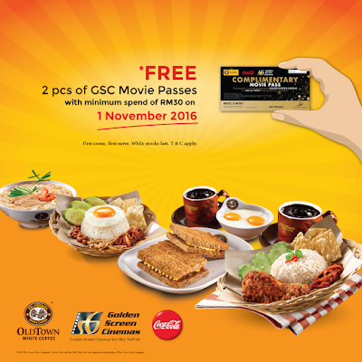 OLDTOWN White Coffee Malaysia Free GSC Movie Tickets Promo