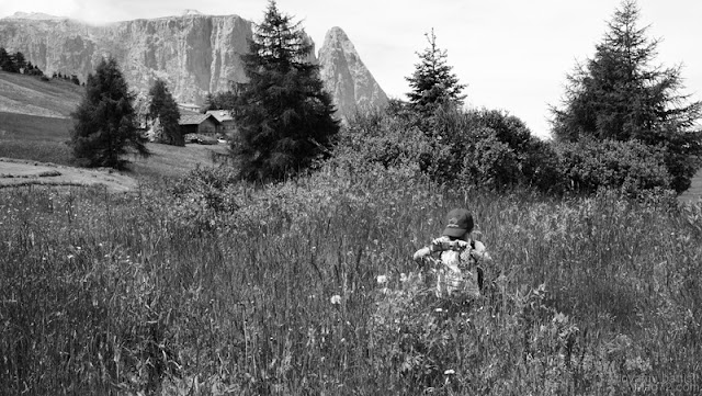 Bambina che fotografa un fiore