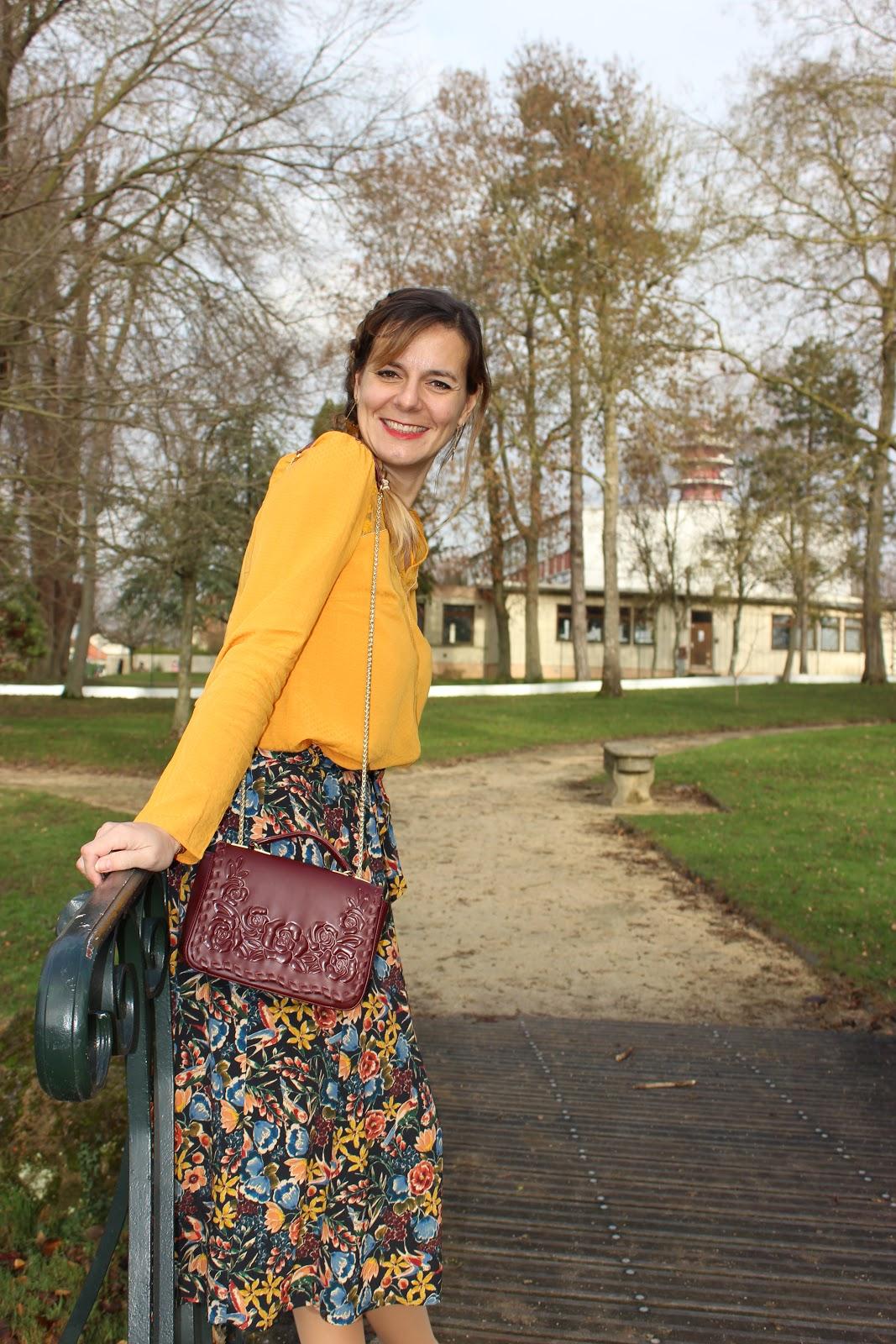Jupe Sézane, blouse jaune, look du jour, les petites bulles de ma vie