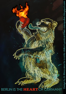 Drawing of a fierce bear holding a flaming heart, by St. Rhinocéros / Ciana Pullen