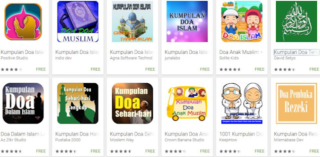 Aplikasi Android Kumpulan Doa-doa dalam Islam di Google Play Store